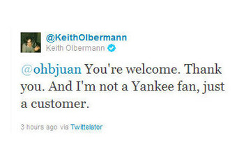 Judging from this tweet, Keith Olbermann may have actually read this story. (Twitter screenshot)
