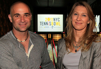 Tennis legends Andre Agassi (L) and Steffi Graf attend the 2011 NYC Tennisbowl at Bowlmor Lanes in New York City.