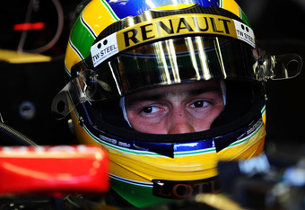 SPA FRANCORCHAMPS, BELGIUM - AUGUST 26:  Bruno Senna of Brazil and Renault prepares to drive during practice for the Belgian Formula One Grand Prix at the Circuit of Spa Francorchamps on August 26, 2011 in Spa Francorchamps, Belgium.  (Photo by Lars Baron/Getty Images)