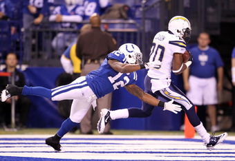 INDIANAPOLIS - NOVEMBER 28: Antoine Cason #20 of the San Diego Chargers intercepts a pass during the NFL game against the Indianapolis Colts at Lucas Oil Stadium on November 28, 2010 in Indianapolis, Indiana. The Chargers won 36-14.(Photo by Andy Lyons/Getty Images)
