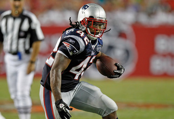 TAMPA, FL - AUGUST 18:  Running back BenJarvus Green-Ellis #42 of the New England Patriots runs the ball against the Tampa Bay Buccaneers during a preseason game at Raymond James Stadium on August 18, 2011 in Tampa, Florida.  (Photo by J. Meric/Getty Images)