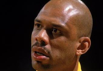 Undated: Kareem Abdul- Jabbar of the Los Angeles Lakers looks on the court.  Mandatory Credit: Allsport USA  /Allsport