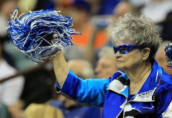 TULSA, OK - MARCH 18:  A fan of the Memphis Tigers cheers against the Arizona Wildcats during the second round of the 2011 NCAA men's basketball tournament at BOK Center on March 18, 2011 in Tulsa, Oklahoma.  (Photo by Ronald Martinez/Getty Images)