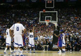 SAN ANTONIO - APRIL 07:  Derrick Rose #23 of the Memphis Tigers shoots a free throw with 10.8 second remaining in regulation against the Kansas Jayhawks during the 2008 NCAA Men's National Championship game at the Alamodome on April 7, 2008 in San Antonio
