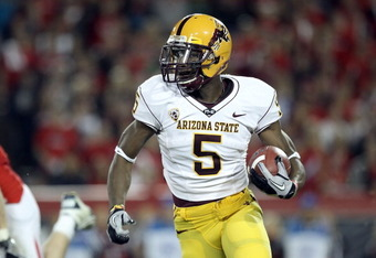 TUCSON, AZ - DECEMBER 02:  Wide receiver Kerry Taylor #5 of the Arizona State Sun Devils runs with the football during the college football game at Arizona Stadium on December 2, 2010 in Tucson, Arizona. The Sun Devils defeated the Wildcats 30-29 in doubl