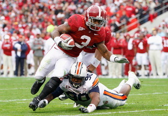 Trent Richardson (3) is a Heisman favorite this year for the Crimson Tide. Alabama takes on Kent State Saturday morning at 11:21 AM on the SEC Network.