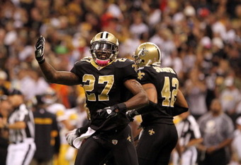 NEW ORLEANS, LA - OCTOBER 31: Malcolm Jenkins #27 of the New Orleans Saints celebrates a play during the game against the Pittsburgh Steelers at the Louisiana Superdome on October 31, 2010 in New Orleans, Louisiana. (Photo by Matthew Sharpe/Getty Images)