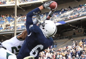 STATE COLLEGE, PA - NOVEMBER 27: Wide receiver Derek Moye #6 of the Penn State Nittany Lions catches a pass in the end zone during a game against the Michigan State Spartans on November 27, 2010 at Beaver Stadium in State College, Pennsylvania. The Sparta