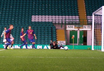 Barca keeper Anton watches as Celtic grab a goal back