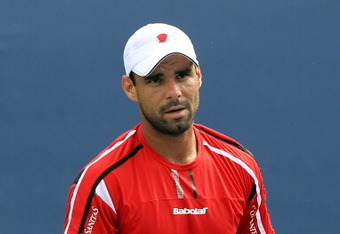 NEW YORK, NY - SEPTEMBER 01:  Alejandro Falla of Columbia looks on during play against Tommy Haas of Germany during Day Four of the 2011 US Open at the USTA Billie Jean King National Tennis Center on September 1, 2011 in the Flushing neighborhood of the Q