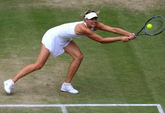 Sharapova in her semifinal win over Lisicki at Wimbledon in 2011