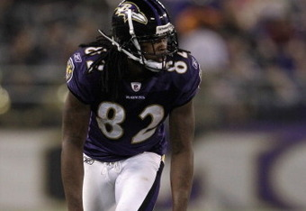BALTIMORE, MD - AUGUST 25: Wide receiver Torrey Smith #82 of the Baltimore Ravens lines up against the Washington Redskins during the second half of a preseason game at M&T Bank Stadium on August 25, 2011 in Baltimore, Maryland. The Ravens defeated the Re