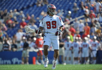 ANNAPOLIS, MD - AUGUST 28:  Paul Rabil #99 of the Boston Cannons awaits the ball against the Hamilton Nationals at Navy-Marine Corps Memorial Stadium on August 28, 2011 in Annapolis, Maryland. The Cannons defeated the Nationals 10-9. (Photo by Larry Frenc