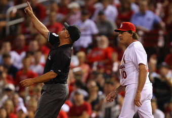 St. Louis Cardinals skipper Tony LaRussa is never shy about giving the men in blue his opinion