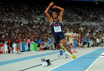 DAEGU, SOUTH KOREA - SEPTEMBER 04:  Christian Taylor of the USA competes in the men's triple jump final during day nine of 13th IAAF World Athletics Championships at Daegu Stadium on September 4, 2011 in Daegu, South Korea.  (Photo by Stu Forster/Getty Im