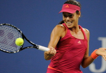 NEW YORK, NY - SEPTEMBER 03:  Ana Ivanovic of Serbia returns a shot to Sloane Stephens of the United States during Day Six of the 2011 US Open at the USTA Billie Jean King National Tennis Center on September 3, 2011 in the Flushing neighborhood of the Que