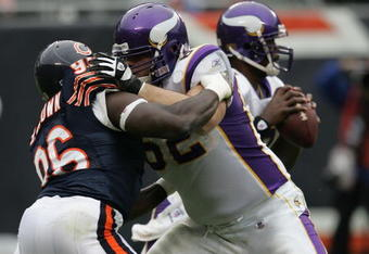 CHICAGO - OCTOBER 14: Alex Brown #96 of the Chicago Bears is blocked by Ryan Cook #62 of the Minnesota Vikings on October 14, 2007 at Soldier Field in Chicago, Illinois. The Vikings defeated the Bears 34-31. (Photo by Jonathan Daniel/Getty Images)
