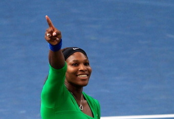 TORONTO, CANADA - AUGUST 14:  Serena Williams celebrates match point to win the tournament against Samantha Stosur of Australia on Day 7 in the final of the Rogers Cup presented by National Bank at the Rexall Centre on August 14, 2011 in Toronto, Ontario,