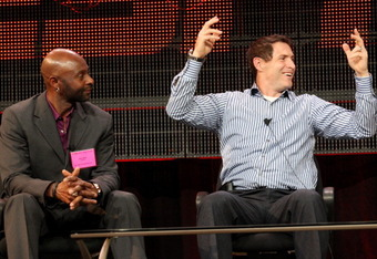 PASADENA, CA - JANUARY 05:  NFL Hall of Famers Jerry Rice (L) and Steve Young speak onstage during the 'Year of the Quarterback' panel at the ESPN portion of the 2011 Winter TCA press tour held at the Langham Hotel on January 5, 2011 in Pasadena, Californ