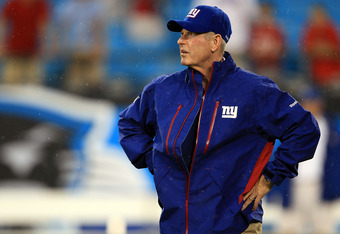 CHARLOTTE, NC - AUGUST 13:  Head coach Tom Coughlin of the New York Giants stands on the fiel before their preseason game against the Carolina Panthers at Bank of America Stadium on August 13, 2011 in Charlotte, North Carolina.  (Photo by Streeter Lecka/G