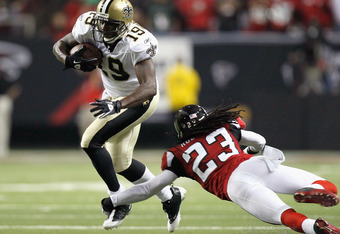 ATLANTA, GA - DECEMBER 27:  Devery Henderson #19 of the New Orleans Saints against Dunta Robinson #23 of the Atlanta Falcons at Georgia Dome on December 27, 2010 in Atlanta, Georgia.  (Photo by Kevin C. Cox/Getty Images)