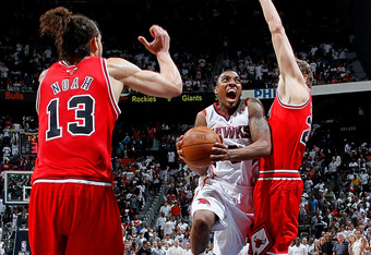 Teague takes it to the hole against Kyle Korver and Joakim Noah for the game sealing layup of Game 4