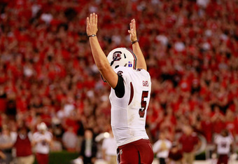 ATHENS, GA - SEPTEMBER 10:  Stephen Garcia #5 of the South Carolina Gamecocks reacts after a touchdown against the Georgia Bulldogs at Sanford Stadium on September 10, 2011 in Athens, Georgia.  (Photo by Kevin C. Cox/Getty Images)