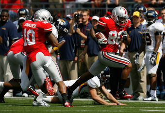 Ohio State's Chris Fields on his 69-yard punt return TD, getting a tremendous block from freshman LB Ryan Shazier.