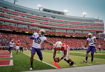 LINCOLN, NE - SEPTEMBER 17: Aaron Green #2 of the Nebraska Cornhuskers scores a touchdown during first half action of their game against the Washington Huskies at Memorial Stadium September 17, 2011 in Lincoln, Nebraska.  (Photo by Eric Francis/Getty Imag