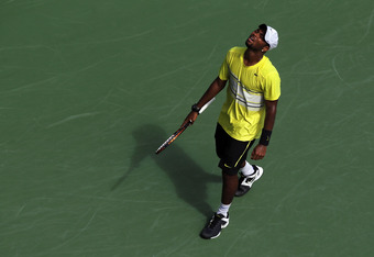 NEW YORK, NY - SEPTEMBER 08:  Donald Young of the United States reacts against Andy Murray of Great Britain during Day Eleven of the 2011 US Open at the USTA Billie Jean King National Tennis Center on September 8, 2011 in the Flushing neighborhood of the