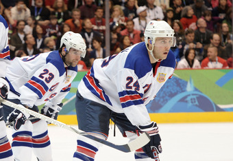 VANCOUVER, BC - FEBRUARY 21:  Ryan Whitney #19 of the United States, Chris Drury #23 of the United States and Ryan Callahan #24 of the United States are seen during the ice hockey men's preliminary game between Canada and USA on day 10 of the Vancouver 20