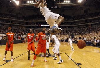 PITTSBURGH, PA - JANUARY 17:  Gilbert Brown #5 of the Pittsburgh Panthers dunks the ball against the Syracuse Orange at Petersen Events Center on January 17, 2011 in Pittsburgh, Pennsylvania.  The Panthers defeated the Orange 74-66.  (Photo by Justin K. A