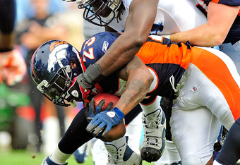 Willis McGahee and the Broncos offensive line fell just short of scoring though this photo shows he crossed the line.