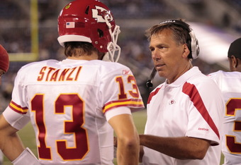 BALTIMORE, MD - AUGUST 19: Quarterback Ricky Stanzi #13 of the Kansas City Chiefs talks with quarterback coach Jim Zorn during a preseason game against the Baltimore Ravens at M&T Bank Stadium on August 19, 2011 in Baltimore, Maryland. The Ravens won 31-1