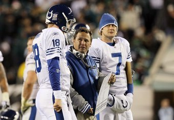 PHILADELPHIA - NOVEMBER 07: Quarterback Peyton Manning #18 of the Indianapolis Colts stands with offensive coordinator Clyde Christensen and quarterback Curtis Painter #7 against the Philadelphia Eagles on November 7, 2010 at Lincoln Financial Field in Ph