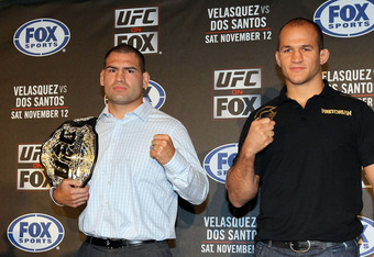 HOLLYWOOD, CA - SEPTEMBER 20:  (L-R) UFC Fighters Cain Velasquez and Junior dos Santos stand for the cameras during the UFC on Fox: Velasquez v Dos Santos - Press Conference at W Hollywood on September 20, 2011 in Hollywood, California.  (Photo by Victor