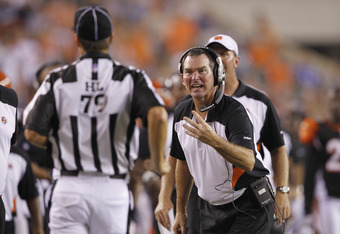 CINCINNATI, OH - SEPTEMBER 1: Cincinnati Bengals defensive coordinator Mike Zimmer argues with head linesman Kent Payne #79 during an NFL preseason game against the Indianapolis Colts at Paul Brown Stadium on September 1, 2011 in Cincinnati, Ohio. The Col