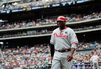 NEW YORK, NY - SEPTEMBER 25:  Ryan Howard #6 walks off the field after scoring in the first inning against the New York Mets at Citi Field on September 25, 2011 in the Flushing neighborhood of the Queens borough of New York City.  (Photo by Patrick McDerm