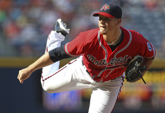 ATLANTA, GA - SEPTEMBER 18: Craig Kimbrel #46 of the Atlanta Braves closes the game against the New York Mets at Turner Field on September 18, 2011 in Atlanta, Georgia. The Mets beat the Braves 7-5.  (Photo by Daniel Shirey/Getty Images)