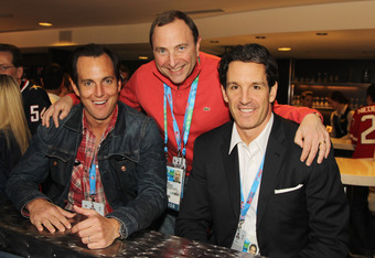 Brendan Shanahan (right) - is he genuine about cleaning up hockey or is he on a secret mission to ascend to the Commisioner's throne?