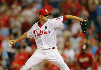 PHILADELPHIA , PA - AUGUST 17:  Ryan Madson #46 of the Philadelphia Phillies closes out a 9-2 win against the Arizona Diamondbacks at Citizens Bank Park on August 17, 2011 in Philadelphia, Pennsylvania.  (Photo by Len Redkoles/Getty Images)