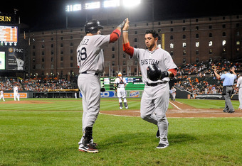 BALTIMORE, MD - SEPTEMBER 28:  Mike Aviles #3 of the Boston Red Sox celebrates with Adrian Gonzalez #28 after scoring in the third inning against the Baltimore Orioles at Oriole Park at Camden Yards on September 28, 2011 in Baltimore, Maryland.  (Photo by