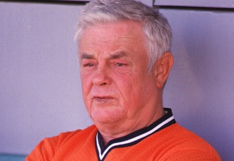 1986:  Manager Earl Weaver of the Baltimore Orioles watches from the dug out during an Orioles game in the 1986 season.   Mandatory Credit: Allsport USA/ALLSPORT