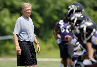 OWINGS MILLS, MD - JULY 29:  Offensive coordinator Cam Cameron of the Baltimore Ravens watches work outs during training camp on July 29, 2011 in Owings Mills, Maryland.  (Photo by Rob Carr/Getty Images)