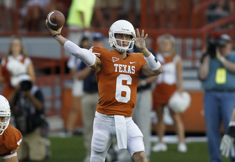 AUSTIN, TX - SEPTEMBER 10:  Backup quarterback Case McCoy #6 of the Texas Longhorns passes against the BYU Cougars on September 10, 2011 at Darrell K. Royal-Texas Memorial Stadium in Austin, Texas.  Texas defeated BYU 17-16.  (Photo by Erich Schlegel/Gett