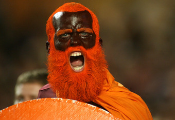 MIAMI, FL - JANUARY 03: Phillip Zellmer, fan of the Virginia Tech Hokies supports his team against the Stanford Cardinal during the 2011 Discover Orange Bowl at Sun Life Stadium on January 3, 2011 in Miami, Florida. (Photo by Marc Serota/Getty Images)