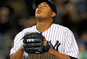 NEW YORK, NY - OCTOBER 01:  Ivan Nova #47 of the New York Yankees salutes the crowd after being pulled from the game in the ninth inning of Game One of the American League Division Series against the Detroit Tigers at Yankee Stadium on October 1, 2011 in