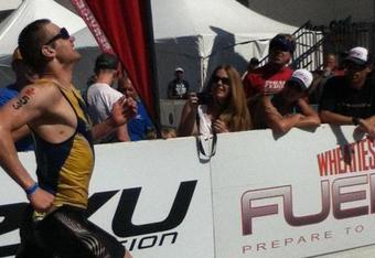 "Jeff ""Diamond"" Symonds in the final stretch at 2011 Ironman 70.3 Worlds in Lake Las Vegas."