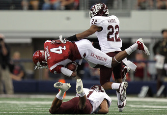 Wright set Arkansas a single game receiving record against A&M.