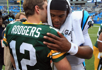 Foretaste of battles to come. Cam Newton and Aaron Rodgers.
